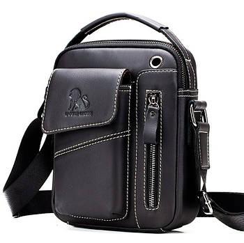 Чоловіча сумка через плече Натуральня шкіра Барсетка Чоловіча шкіряна сумка для документів планшет Чорний