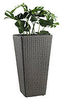 Напольный горшок искусственный ротанг 50 см серый, ukrfarm, фото 1