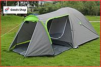Палатка туристическая четырехместная однокомнатная двухслойная с тамбуром Acamper Monsun 4-х местная серая