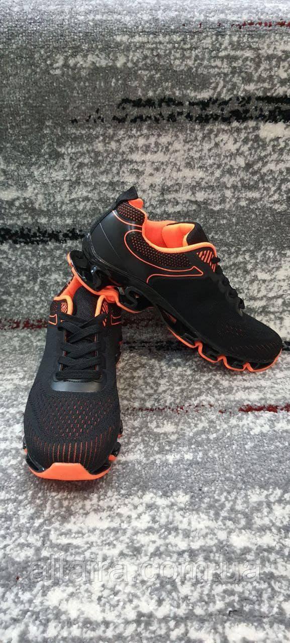 Стильні чоловічі кросівки сітка чорно-помаранчеві. Розміри 41-45