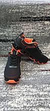 Стильные мужские кроссовки сетка черно-оранжевые. Размеры 41-45