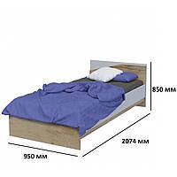Односпальная кровать Unity L в детскую с изголовьем модульная дуб тахо / белая аляска