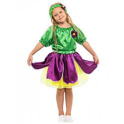 Карнавальный костюм ФИАЛКА, ЦВЕТОК для девочки 4,5,6,7,8,9 лет, детский маскарадный костюм ЦВЕТОЧЕК ФИАЛКА