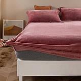 Велюровая простынь на резинке двуспальный размер 180*200+25см Натяжная простынь на матрас или диван, фото 2