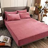 Велюровая простынь на резинке двуспальный размер 180*200+25см Натяжная простынь на матрас или диван, фото 3
