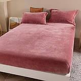 Велюровая простынь на резинке двуспальный размер 180*200+25см Натяжная простынь на матрас или диван, фото 4