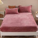 Велюровая простынь на резинке двуспальный размер 180*200+25см Натяжная простынь на матрас или диван, фото 5
