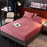 Велюровая простынь на резинке двуспальный размер 180*200+25см Натяжная простынь на матрас или диван, фото 6