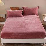 Велюровая простынь на резинке двуспальный размер 180*200+25см Натяжная простынь на матрас или диван, фото 8
