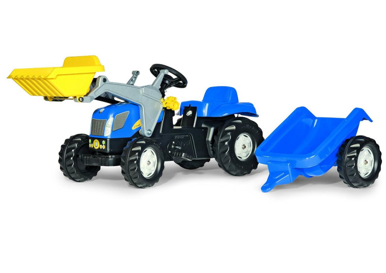 Трактор Педальный с Прицепом и Ковшом New Holland Rolly Toys 023929
