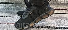 Мужские черные кроссовки сетка на силиконовой подошве. Размеры 41-45.