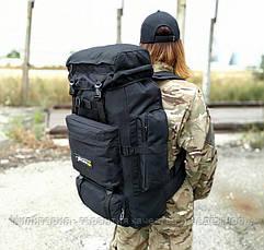 Тактичний (туристичний) рюкзак на 80 л збільшується дно Black (ta70-new-black), фото 2