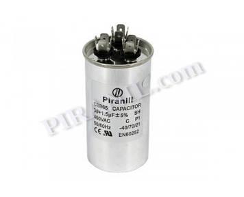 Конденсатор CBB65 30+1.5 мкф 450V, металевий, подвійний (Piranil)