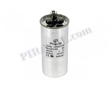 Конденсатор CBB65 60+6 мкф 450V, металевий, подвійний (Piranil)