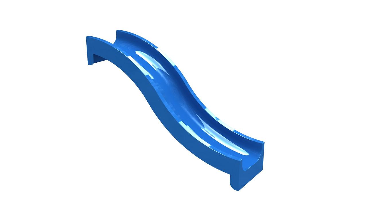 Спуск для горки стекло пластиковый 2,8 м, H-1,2 м.