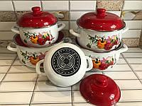 Набор эмалированной посуды с крышками из 10 предметов. Эмалированные кастрюли Edenberg EB-1877