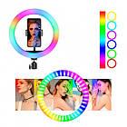 ОПТ Кольцевая светодиодная селфи лампа RGB MJ36 36см RGB с мульти регулировкой света с управлением на проводе, фото 3