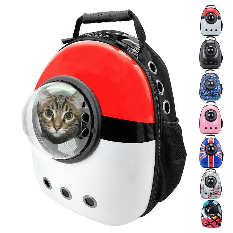 Рюкзак переноска для котов с иллюминатором Сумка для перевоза животных Красный с белым (M90390)