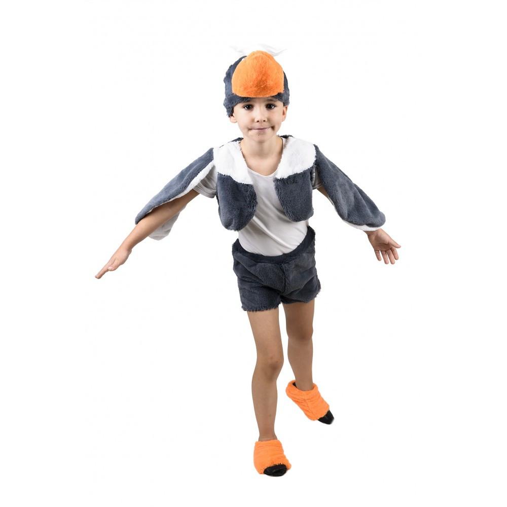 Карнавальный костюм ГУСЬ СЕРЫЙ от 3 до 6 лет, детский костюм гуся меховый на рост 98-116 см