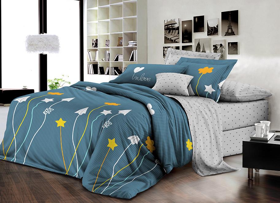 Двуспальный комплект постельного белья евро 200*220 ранфорс  (16762) TM KRISPOL Украина