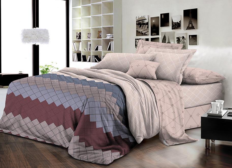 Двуспальный комплект постельного белья евро 200*220 ранфорс  (16763) TM KRISPOL Украина