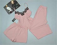 Комплект пижама  Este 215. Комплект тройка с кружевом майка штаны шорты .