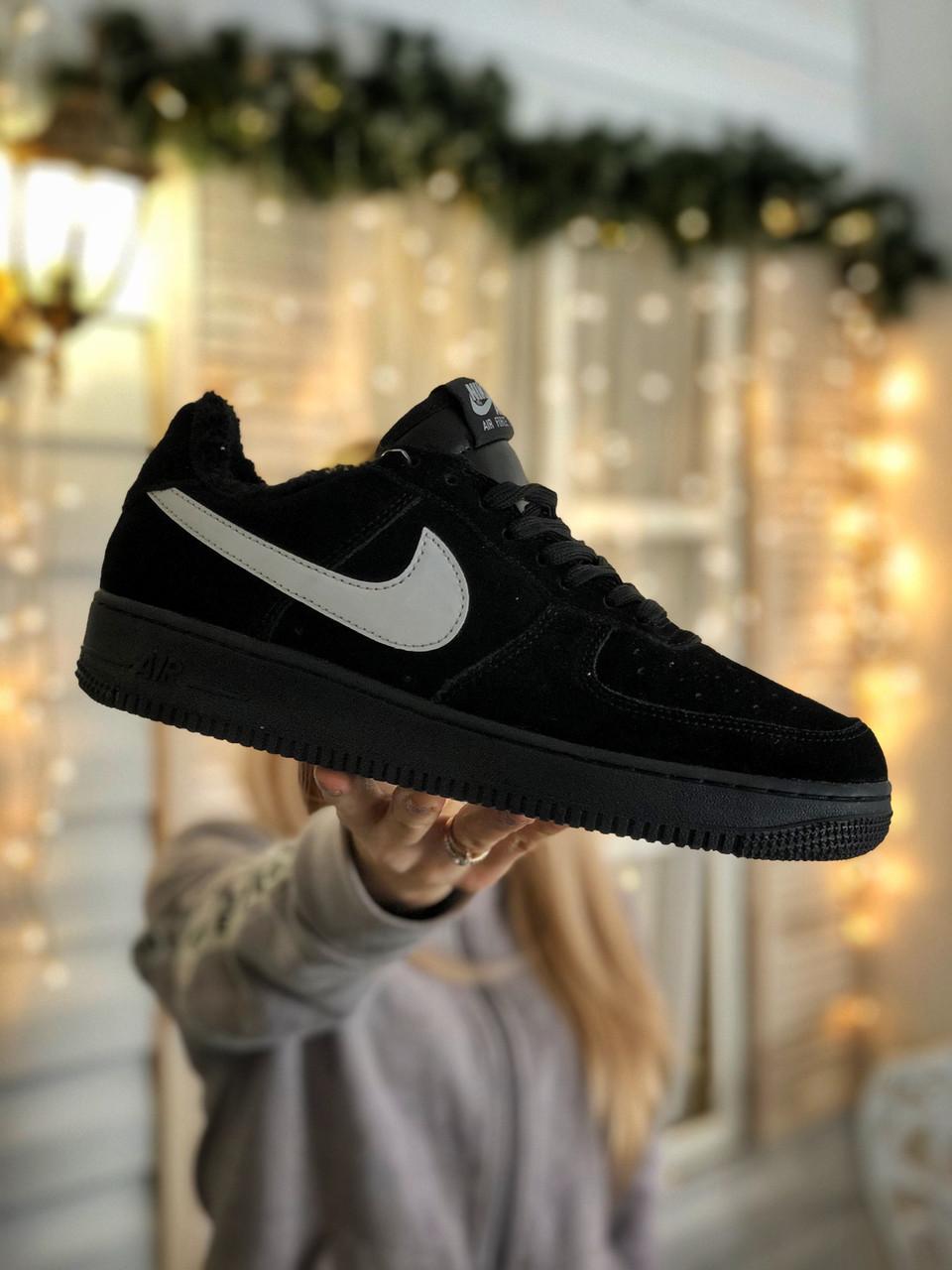 Кроссовки женские  Nike Air Force 1 Black Fur
