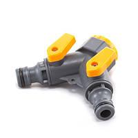 Кран кульовий Presto-PS на 2 виходи з внутрішньою різьбою 1/2-3/4 дюйма (5002)