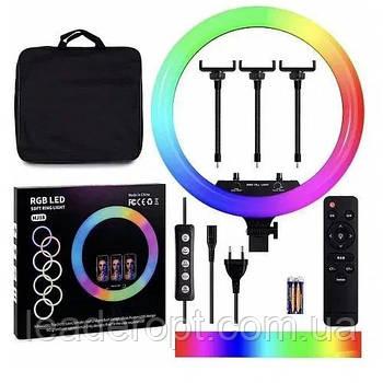ОПТ Кольцевая светодиодная селфи лампа RGB MJ18 45см 3 крепления и 3 режима температуры света