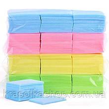 Серветки безворсові кольорові для манікюру 900 шт., 6*5 см