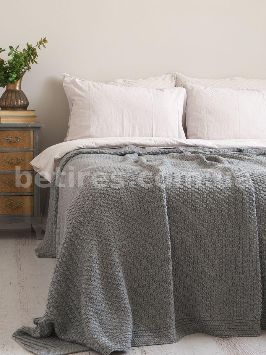 Покрывало 170x240 BETIRES DENIZ GRAY (50% хлопок, 50% акрил) серый