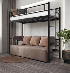 Кровать Дабл Чердак черный бархат 190*80 в стиле Лофт (возможное изготовление в цветах: белый, золото,
