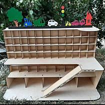 Деревянный гараж для машинок Именной Панда