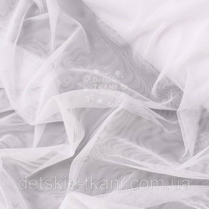М'ягкий фатин білого кольору для балдахінів, ширина 3 м