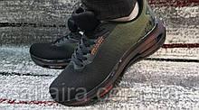 Мужские стильные кроссовки сетка черно-оливковые. Размеры 41-46.