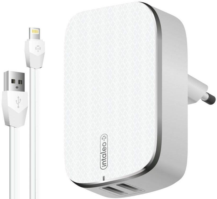 Мережевий зарядний пристрій Intaleo TCG242 2USB + Lightning Cable White