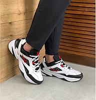 Мужские кроссовки Nike M2K Tekno White Black Red / Найк М2К Текно кожаные повседневные весенние