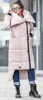 Жіноча подовжена куртка-пальто з об'ємним коміром, фото 1