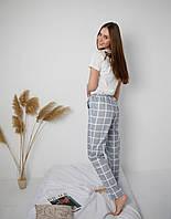 Женская пижама со штанами из сатина серая с белым