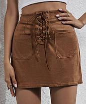 Стильная замшевая юбка со шнуровкой, фото 3
