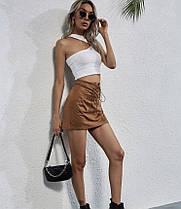 Стильная замшевая юбка со шнуровкой, фото 2