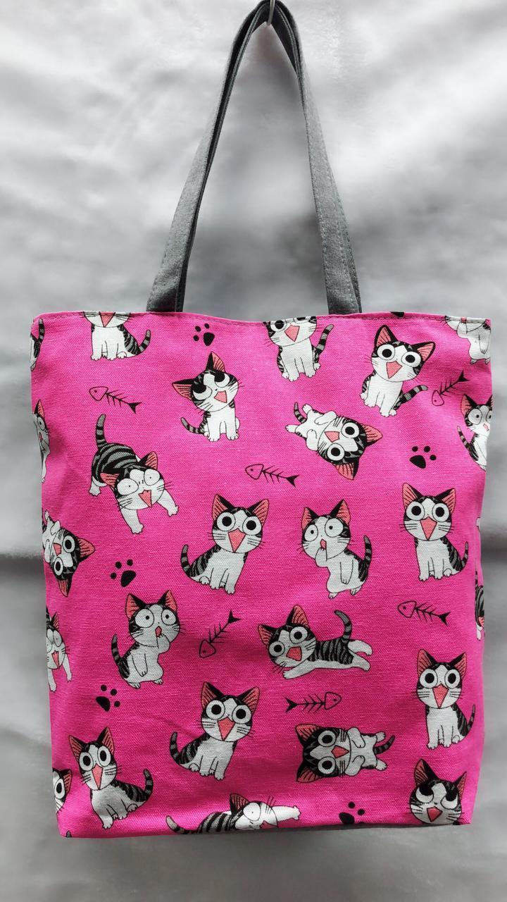 Тканинна еко сумка шопер з котиками