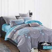 Комплект постільної білизни сімейний Bella Villa сатин сіро-блакитний