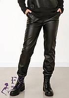 Шкіряні жіночі джоггери з кишенями 022 В, фото 1