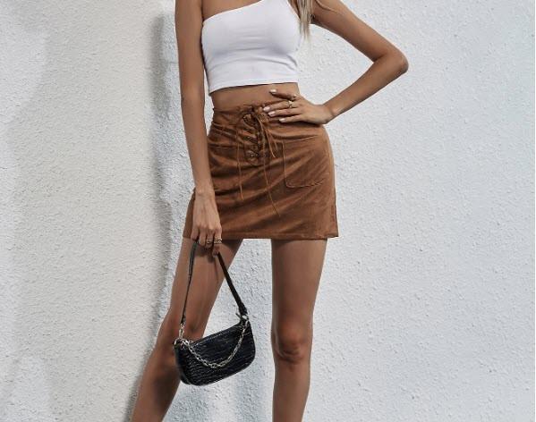 Стильная замшевая юбка со шнуровкой