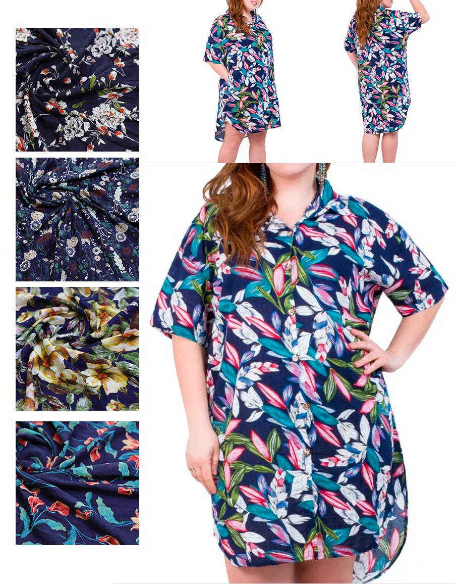 Сорочка - туніка жіноча з коротким рукавом, квітковий принт, SAIMEIQI (розмір 3XL)