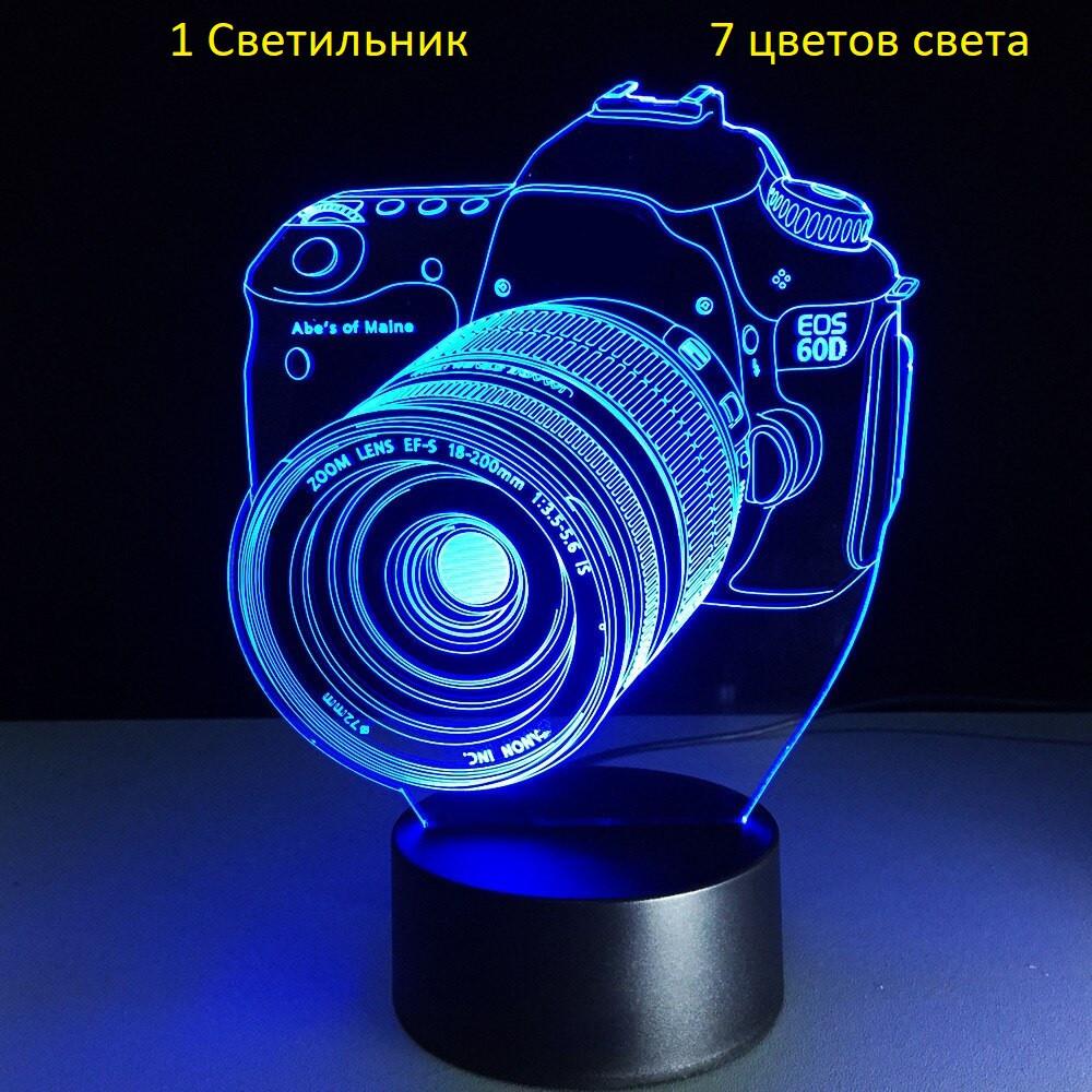 "3D Светильник, ""Фотоаппарат"", Идеи подарков женщине на день рождения, Идеи подарков мужчине"