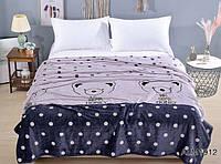 """Красивый детский флисовый плед на кровать полуторный с мишкой """"Honey"""" - Размер: 160х210 (лиловый)"""