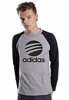 Мужская спортивная кофта (спортивный свитшот) Adidas, Адидас, серо-черная (в стиле)