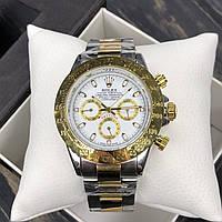 Часы наручные мужские кварцевые в стиле Rolex Daytona Ролекс Дайтона Золотые с серебристым